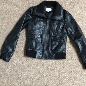 Faux leather motto black jacket